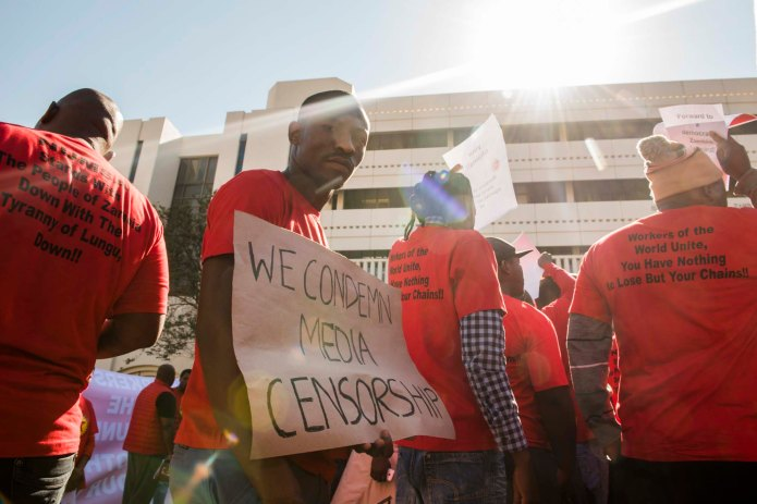 NUMSA protest at Zambian embassy
