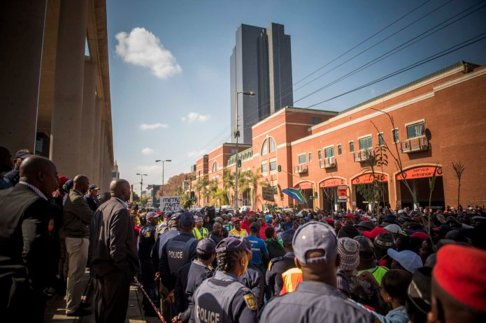 Security guards march to Tshwane House