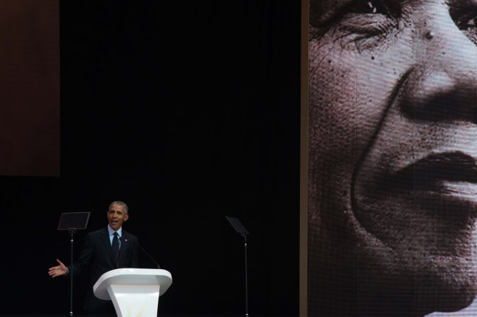 Barack Obama delivers the Nelson Mandela lecture in South Africa